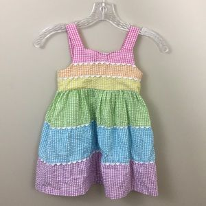 Bonnie Jean rainbow sear sucker sundress